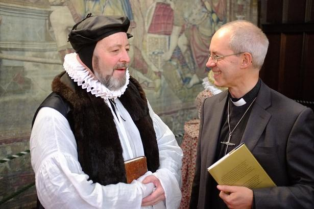 History meets the present day: Archbishops Whitgift and Welby meet at Hampton Court.