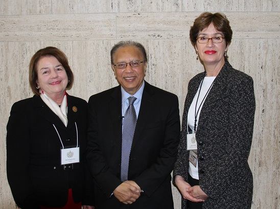 From left to right: Marnie Dawson Carr, Ambassador Anwarul Karim Chowdhury and ACOUN's Rachel Chardon following a side event at the UN's Commission on the Status of Women in 2013.